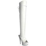 Blanc Similicuir 15 cm DELIGHT-3019 Cuissardes Bottes Plateforme