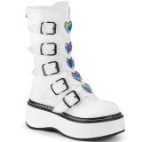 Blanc Similicuir 5 cm EMILY-330 plateformes bottes à boucles pour femmes