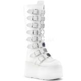 Blanc Similicuir 9 cm DAMNED-318 plateformes bottes à boucles pour femmes
