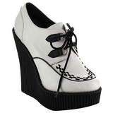 Blanc Similicuir CREEPER-302 chaussures creepers compensées