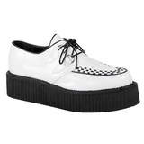 Blanc Similicuir V-CREEPER-502 Chaussures Creepers Hommes Plateforme