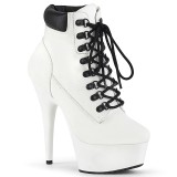 Blanc Suédine 15 cm DELIGHT-600TL-02 bottines pleaser plateforme