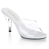 Blanc Transparent 11 cm CARESS-401 Mules Talons Hauts