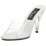 Blanc Transparent 11 cm CARESS-401 Mules Talons Hauts