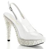 Blanc Transparent 13 cm COCKTAIL-518 Plateforme Perles Sandales Femmes