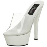 Blanc Transparent 15,5 cm KISS-201 Plateforme Mules Hautes