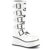 Blanc Vegan 8,5 cm TRASHVILLE-518 bottes demonia - bottes plateforme unisex