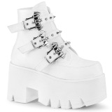 Blanc Vegan 9 cm ASHES-55 bottines demonia plateforme