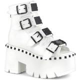 Blanc Vegan 9 cm ASHES-70 bottines à talons épais plateforme lolita