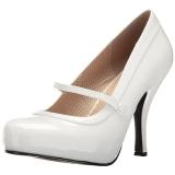 Blanc Verni 11,5 cm PINUP-01 grande taille escarpins femmes
