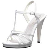 Blanc Verni 12 cm FLAIR-420 Sandales Femme à Talon