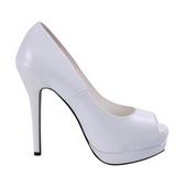 Blanc Verni 13,5 cm BELLA-12 Escarpins Talon Aiguille Femmes