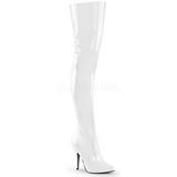 Blanc Verni 13 cm SEDUCE-3010 bottes cuissardes hommes