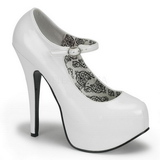 Blanc Verni 14,5 cm Burlesque BORDELLO TEEZE-07 Escarpins Haut Talon