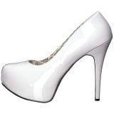 Blanc Verni 14,5 cm Burlesque TEEZE-06W pieds larges escarpins pour homme