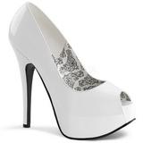 Blanc Verni 14,5 cm Burlesque TEEZE-22 Escarpins Talon Aiguille Femmes