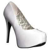 Blanc Verni 14,5 cm TEEZE-06W pieds larges escarpins pour homme