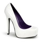 Blanc Verni 14 cm BONDAGE-01 Escarpins Chaussures Femme
