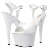 Blanc Verni 18 cm ADORE-709 Plateforme Chaussures Talon Haut