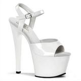 Blanc Verni 18 cm Pleaser SKY-309 Plateforme Chaussures Talon Haut