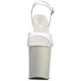 Blanc Verni 20 cm Pleaser FLAMINGO-809 Talons Hauts Plateforme