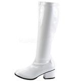 Blanc Verni 5 cm RETRO-300 Bottes Talons Hauts Femmes