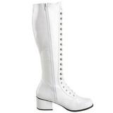 Blanc Verni 5 cm RETRO-302 Bottes à Lacets Femmes