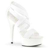 Blanc bande élastique 15 cm DELIGHT-669 chaussures pleaser à talon femme