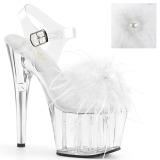 Blanc plumes de marabout 18 cm ADORE-708MF chaussure de pole dance