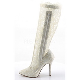 Blanc tissu en dentelle 13 cm AMUSE-2012 Bottes Femmes Hautes