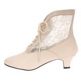 Blanc tissu en dentelle 5 cm DAME-05 bottines à lacets femmes