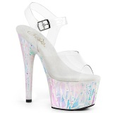 Blanc transparent 18 cm ADORE-708SPLA-2 chaussures de striptease