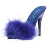 Bleu 13 cm POISE-501F plumes de marabout Mules Chaussures