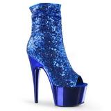 Bleu 18 cm ADORE-1008SQ bottines a paillettes pour femmes