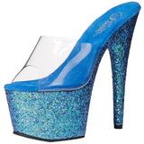 Bleu 18 cm ADORE-701LG etincelle plateforme mules talons hauts