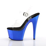 Bleu 18 cm ADORE-708 Chrome Plateforme Talons Hauts