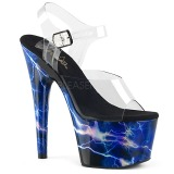 Bleu 18 cm ADORE-708STORM Hologramme talons avec plateforme
