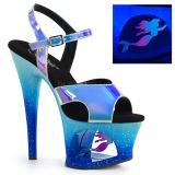 Bleu 18 cm MOON-711MER Neon talons avec plateforme