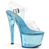 Bleu 18 cm SKY-308T Acrylique talons avec plateforme