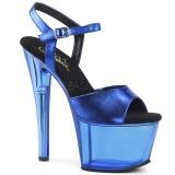 Bleu 18 cm SKY-309MT Plateforme Sandales Acrylique Hauts Talons