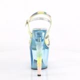 Bleu 18 cm UNICORN-711T Acrylique talons avec plateforme