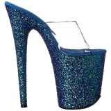 Bleu 20 cm FLAMINGO-801LG etincelle plateforme mules talons hauts