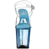 Bleu 20 cm FLAMINGO-808T Plateforme Sandales Acrylique Hauts Talons