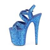 Bleu 20 cm FLAMINGO-897LG etincelle talons avec plateforme