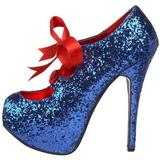 Bleu Etincelle 14,5 cm Burlesque TEEZE-10G Platform Escarpins Chaussures