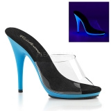 Bleu Neon 13 cm POISE-501UV Plateforme Mules Chaussures