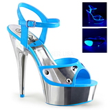 Bleu Neon 15 cm DELIGHT-609NC Plateforme Chrome Sandales Femmes