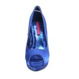 Bleu Satin 13,5 cm BELLA-12R Strass Plateforme Escarpins Hauts Talons