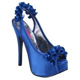 Bleu Satin 14,5 cm Burlesque TEEZE-56 Sandales Talons Hauts