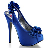 Bleu Satin 14,5 cm TEEZE-56 Sandales Talons Hauts